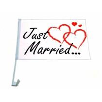 Autofahne Autoflagge Just Married Hochzeit Auto Flagge Wedding Fahne VE48