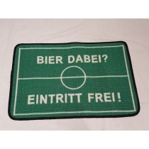 """Fußmatte """"Bier dabei? Eintritt frei!"""" Schmutzmatte Fußabtreter Tor Fußball   VE 1"""