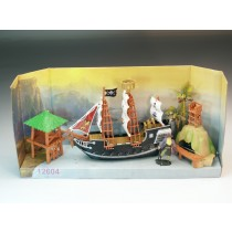 Großes Piratenschiff 47x22 cm nit viel Zubehör Pirat Piratenparty Spielschiff   VE 1
