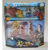 Piratenset mit Schiff und Zubehör Pirat Boot Schatz Schatztruhe Kanone VE1